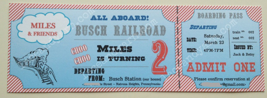 thomas train ticket invitation