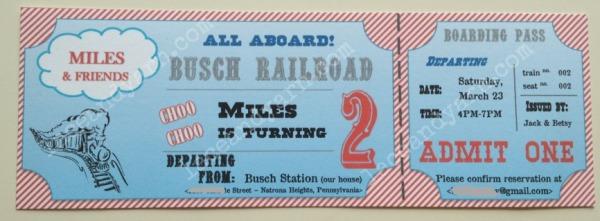 thomas train ticket invitation