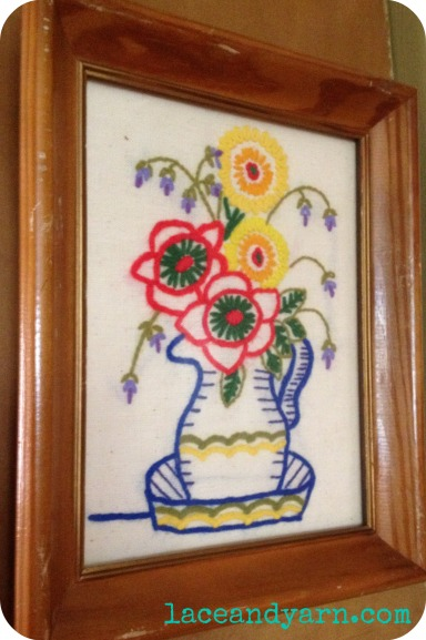 vintage flower pot embroidery