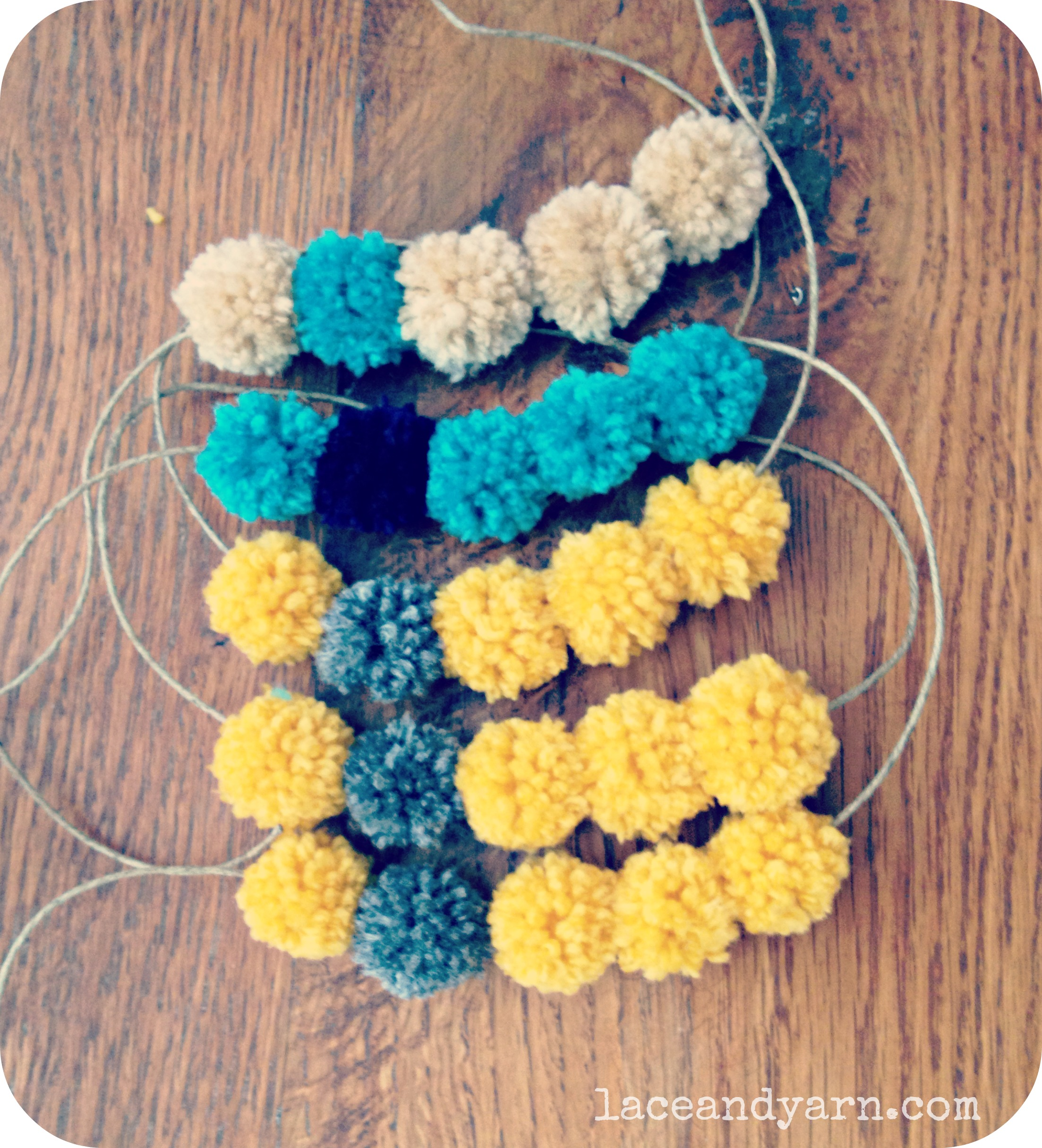 yarn pom pom necklace